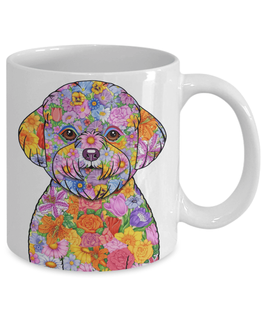 FABULOUS FLOWER BICHON FRISE WHITE MUG - DESIGN ON BOTH SIDES
