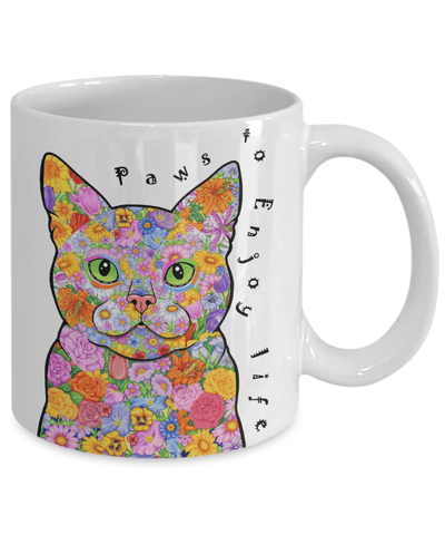 "POP ART CAT MUG - ""PAWS TO ENJOY LIFE"""