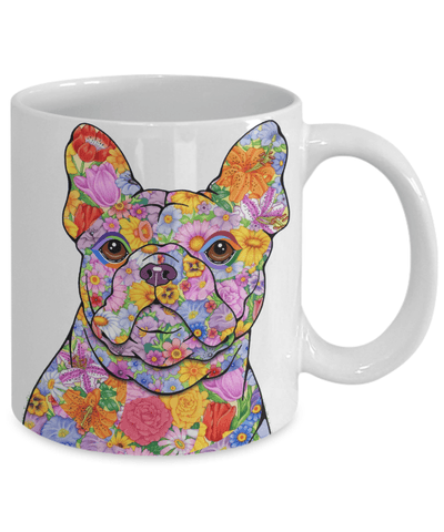 FLOWER FRENCH BULLDOG MUG - COMES IN WHITE TOO