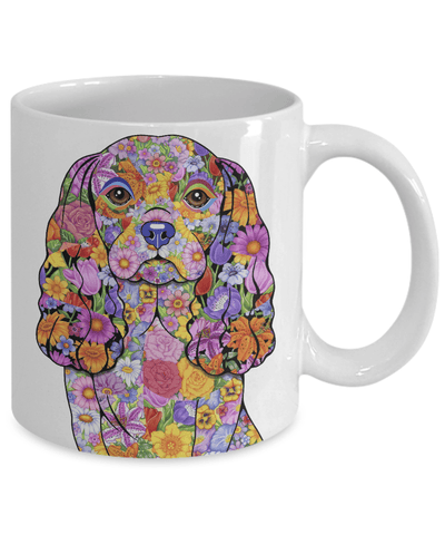 FLOWER CAVALIER KING CHARLES SPANIEL MUG - COMES IN BLACK TOO