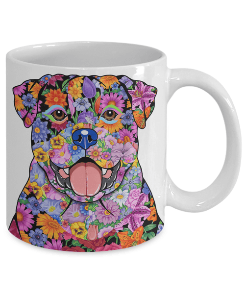FABULOUS FLOWER ROTTWEILER WHITE MUG - DESIGN ON BOTH SIDES