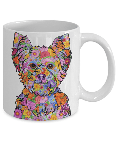 FLOWER YORKIE MUG - COMES IN BLACK TOO