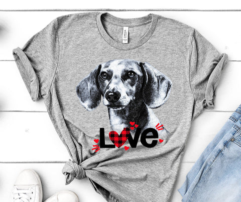DACHSHUND LOVE BELLA CANVAS TEES - UP TO 4XL - PERFECT FOR VALENTINE'S DAY - 2 COLORS