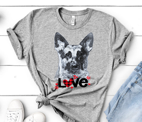 GERMAN SHEPHERD LOVE BELLA CANVAS TEES - UP TO 4XL - PERFECT FOR VALENTINE'S DAY - 2 COLORS