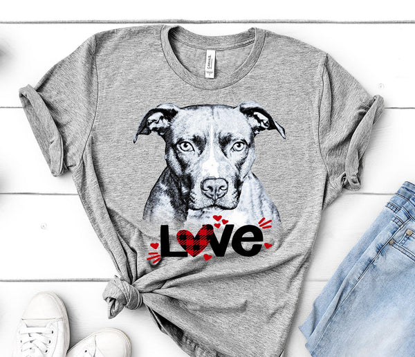 PIT BULL LOVE BELLA CANVAS TEES - UP TO 4XL - PERFECT FOR VALENTINE'S DAY - 2 COLORS