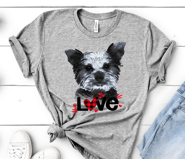 YORKIE LOVE BELLA CANVAS TEES - UP TO 4XL - PERFECT FOR VALENTINE'S DAY - 2 COLORS