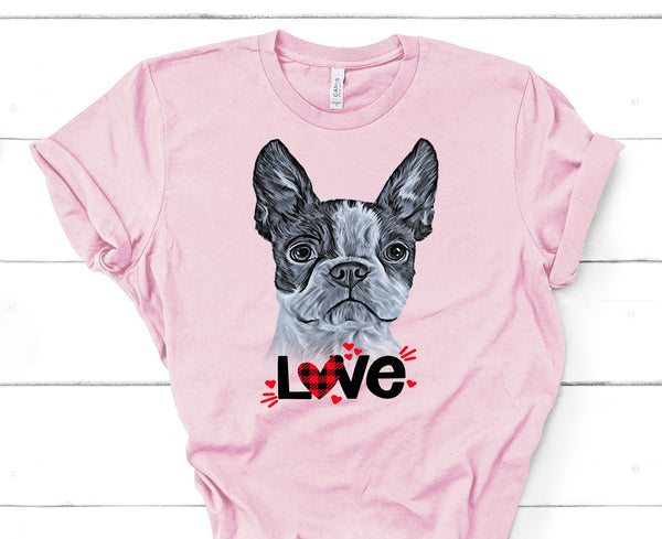 BOSTON TERRIER LOVE BELLA CANVAS TEES - UP TO 4XL - PERFECT FOR VALENTINE'S DAY - 2 COLORS