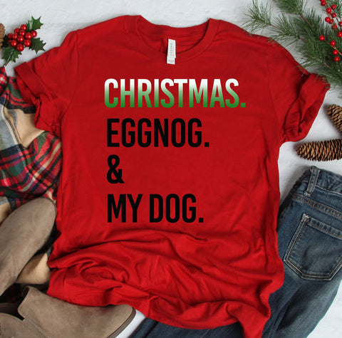 FUN CHRISTMAS EGGNOG & DOG BELLA CANVAS TEES - UP TO 4XL - 4 COLORS