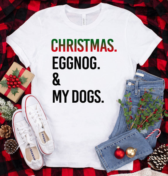 FUN CHRISTMAS EGGNOG & DOGS BELLA CANVAS TEES - UP TO 4XL - 4 COLORS