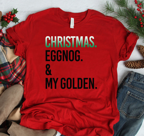 PERSONALIZED CHRISTMAS EGGNOG & DOG BELLA CANVAS TEES - UP TO 4XL - 4 COLORS