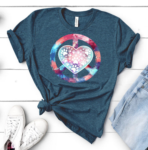 PEACE LOVE PAWS BELLA TEES - UP TO 4XL - 5 COLORS