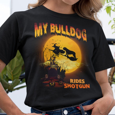 FUN HALLOWEEN BULLDOG RIDES SHOTGUN TEES - UP TO 4XL - 3 COLORS