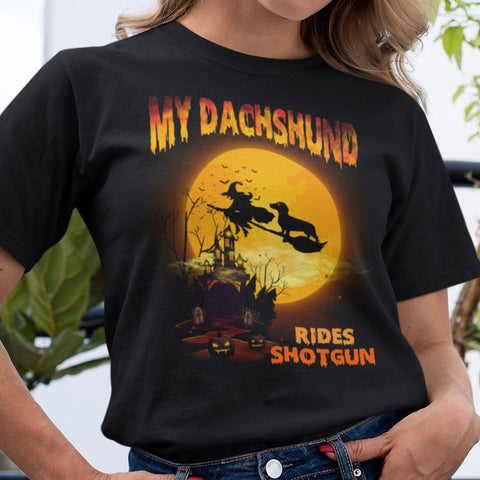 FUN HALLOWEEN DACHSHUND RIDES SHOTGUN TEES - UP TO 4XL - 3 COLORS