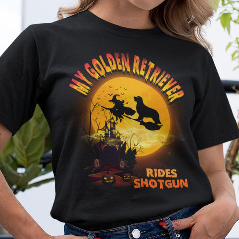 FUN HALLOWEEN GOLDEN RETRIEVER RIDES SHOTGUN TEES - UP TO 4XL - 3 COLORS