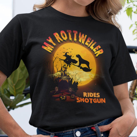 FUN HALLOWEEN ROTTWEILER RIDES SHOTGUN TEES - UP TO 4XL - 3 COLORS