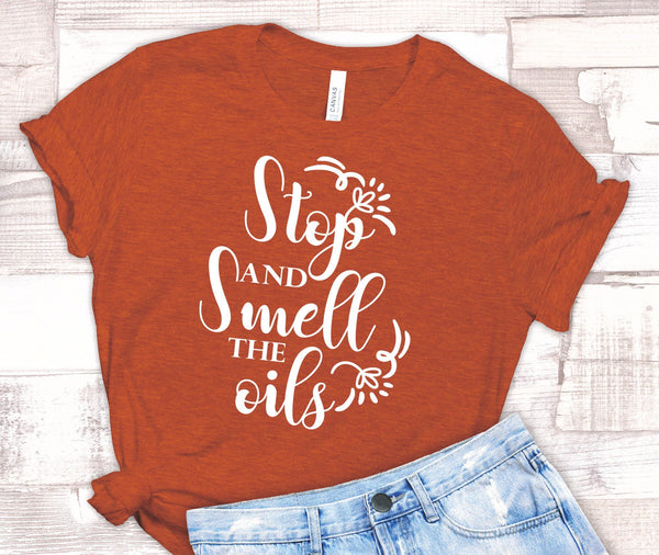 FUN SMELL THE OILS UNISEX TEES - UP TO 4XL - BEAUTIFUL HEATHER COLORS