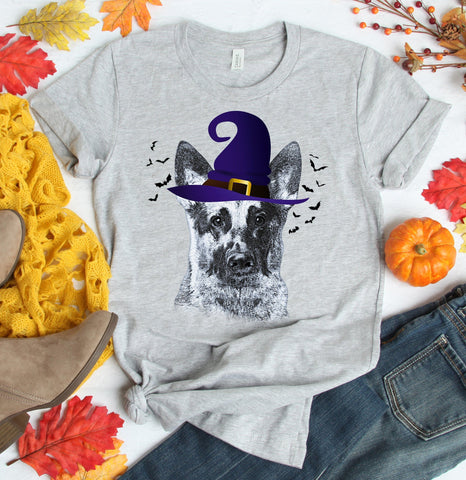FUN HALLOWEEN GERMAN SHEPHERD WITCH HAT TEES - UP TO 4XL - 4 COLORS