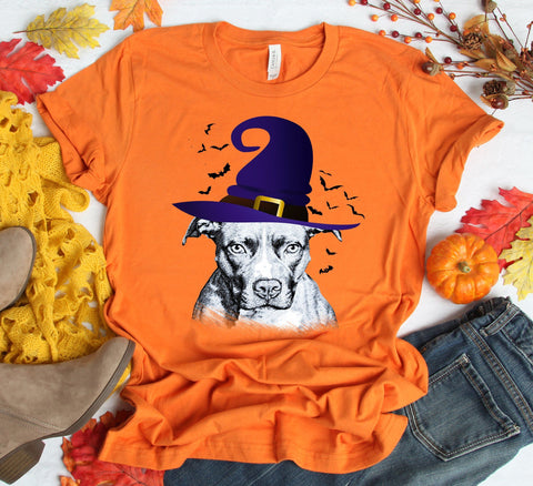 FUN HALLOWEEN PIT BULL WITCH HAT TEES - UP TO 4XL - 4 COLORS