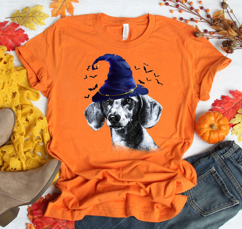FUN HALLOWEEN DACHSHUND WIZARD HAT TEES - UP TO 4XL - 4 COLORS