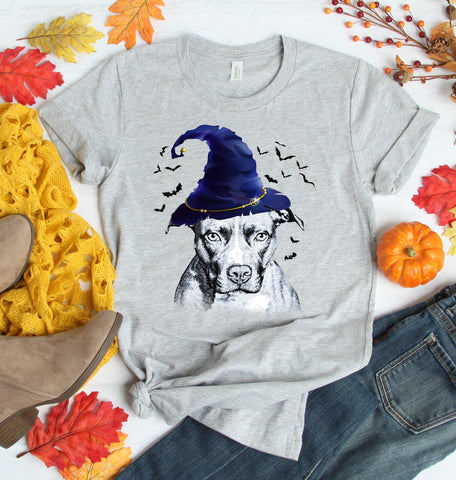 FUN HALLOWEEN PIT BULL WIZARD HAT TEES - UP TO 4XL - 4 COLORS
