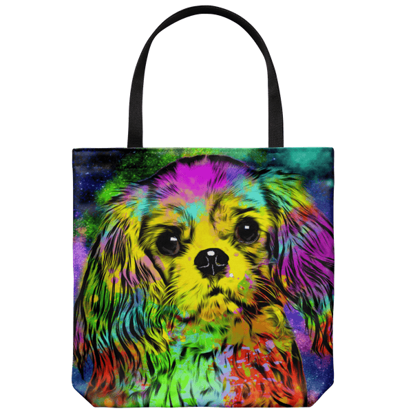 GORGEOUS POP ART CAVALIER KING CHARLES SPANIEL CANVAS TOTE - NEW BIGGER SIZE