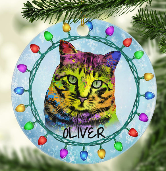 GORGEOUS CAT Ceramic Circle Ornament - PERSONALIZE WITH NAME
