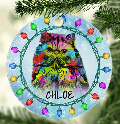 GORGEOUS PERSIAN CAT Ceramic Circle Ornament - PERSONALIZE WITH NAME