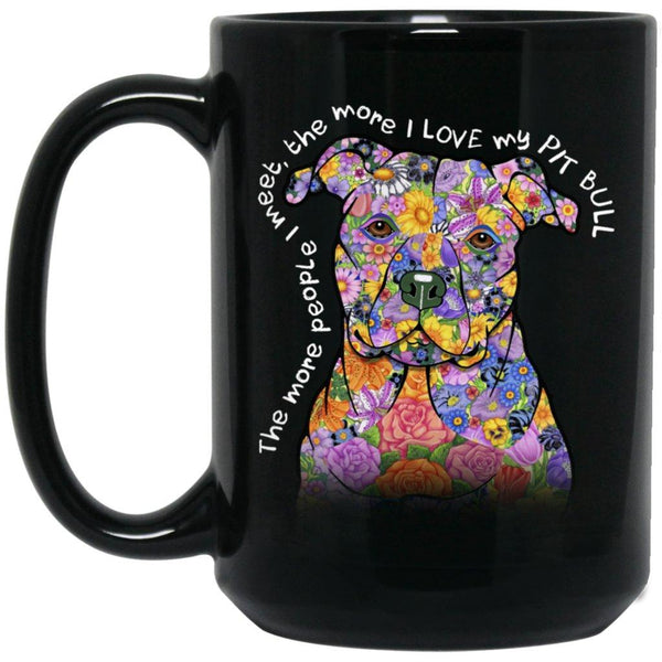 LOVE MY PIT BULL Black Mug - Big 15 oz Size