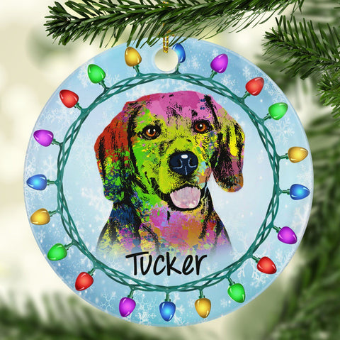 GORGEOUS BEAGLE Ceramic Circle Ornament - PERSONALIZE WITH NAME