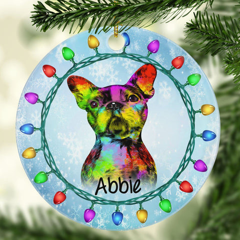 GORGEOUS BOSTON TERRIER Ceramic Circle Ornament - PERSONALIZE WITH NAME