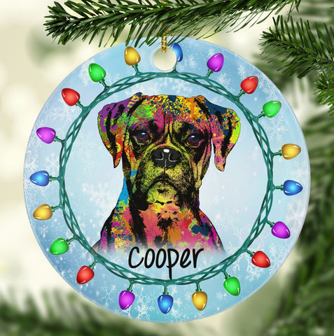 GORGEOUS BOXER Ceramic Circle Ornament - PERSONALIZE WITH NAME