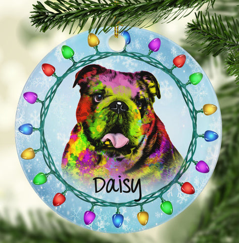 GORGEOUS BULLDOG Ceramic Circle Ornament - PERSONALIZE WITH NAME