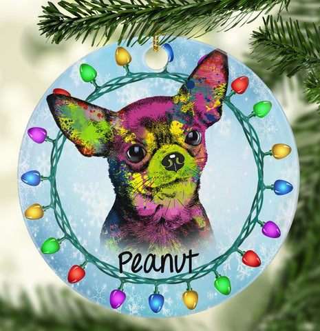 GORGEOUS CHIHUAHUA Ceramic Circle Ornament - PERSONALIZE WITH NAME