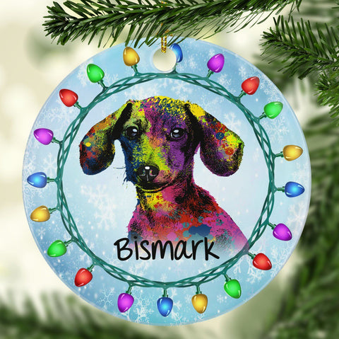GORGEOUS DACHSHUND Ceramic Circle Ornament - PERSONALIZE WITH NAME