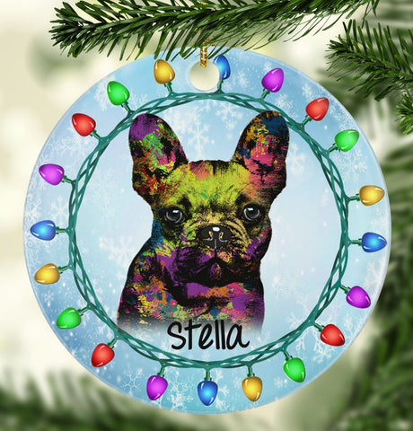 GORGEOUS FRENCH BULLDOG Ceramic Circle Ornament - PERSONALIZE WITH NAME