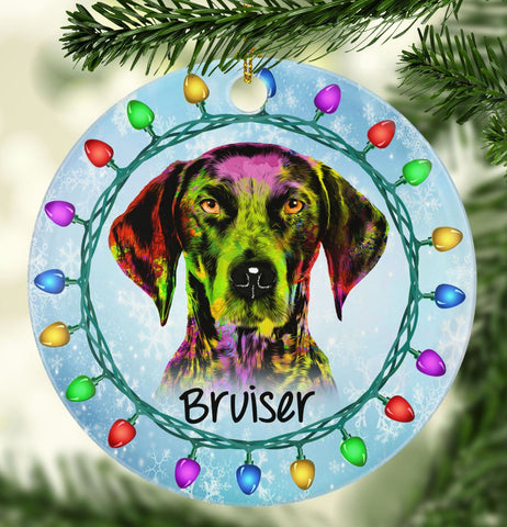 GORGEOUS GERMAN SHORTHAIRED POINTER Ceramic Circle Ornament - PERSONALIZE WITH NAME
