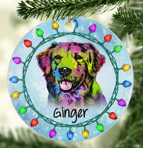 GORGEOUS GOLDEN RETRIEVER Ceramic Circle Ornament - PERSONALIZE WITH NAME