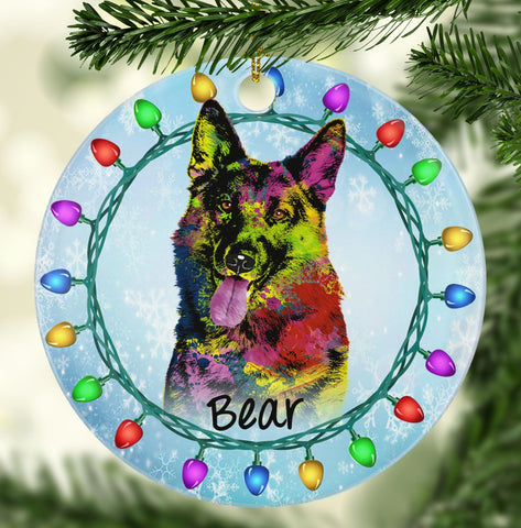 GORGEOUS GERMAN SHEPHERD Ceramic Circle Ornament - PERSONALIZE WITH NAME