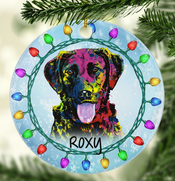 GORGEOUS LABRADOR Ceramic Circle Ornament - PERSONALIZE WITH NAME