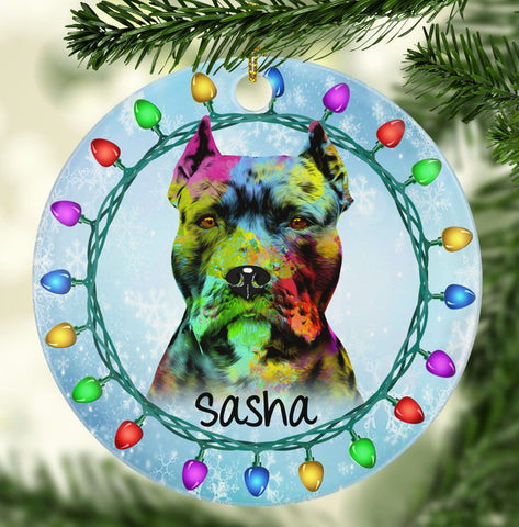 GORGEOUS PIT BULL (CROPPED) Ceramic Circle Ornament - PERSONALIZE WITH NAME