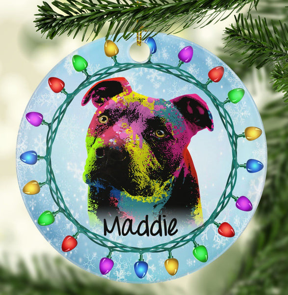 GORGEOUS PIT BULL Ceramic Circle Ornament - PERSONALIZE WITH NAME