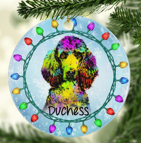 GORGEOUS POODLE Ceramic Circle Ornament - PERSONALIZE WITH NAME
