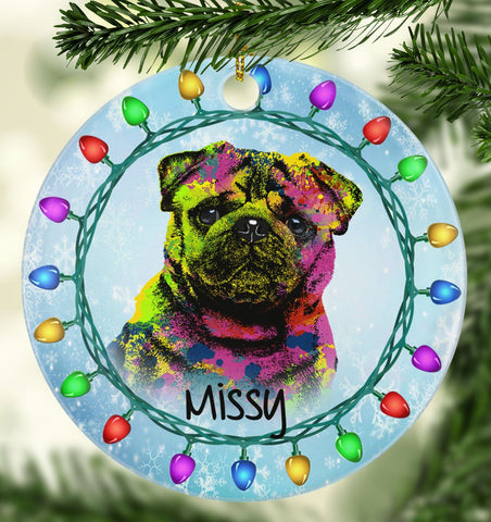 GORGEOUS PUG Ceramic Circle Ornament - PERSONALIZE WITH NAME