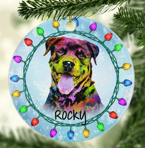 GORGEOUS ROTTWEILER Ceramic Circle Ornament - PERSONALIZE WITH NAME