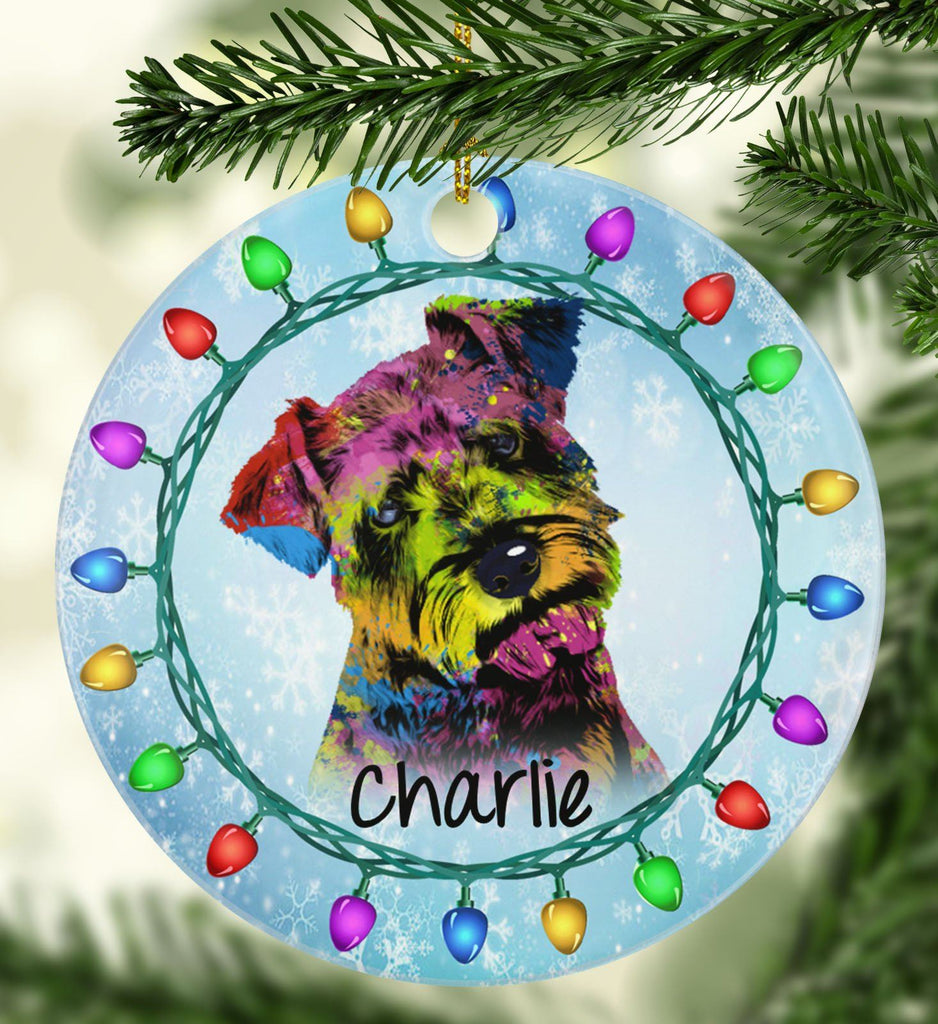 GORGEOUS SCHNAUZER Ceramic Circle Ornament - PERSONALIZE WITH NAME