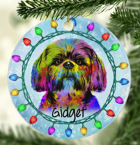GORGEOUS SHIH TZU Ceramic Circle Ornament - PERSONALIZE WITH NAME