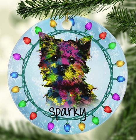 GORGEOUS YORKIE Ceramic Circle Ornament - PERSONALIZE WITH NAME