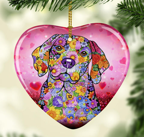 FABULOUS BEAGLE VALENTINE'S DAY CERAMIC HEART ORNAMENT