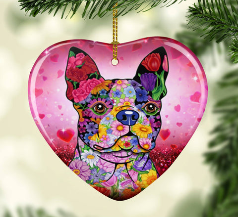 FABULOUS BOSTON TERRIER VALENTINE'S DAY CERAMIC HEART ORNAMENT