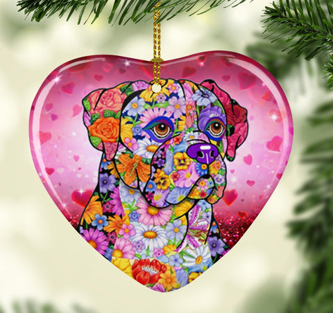 FABULOUS BOXER VALENTINE'S DAY CERAMIC HEART ORNAMENT